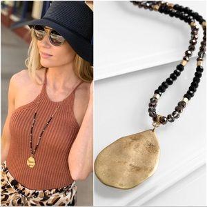 Infinity Raine Jewelry - Black beaded hammered  teardrop pendant necklace